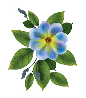 Illustration of blue flower with leaves. Forget me not, bud, twig. Flower concept.