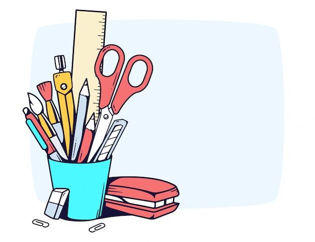 편지지와 파란색 홀더의 그림 회색 배경에 프레임에 설정합니다.