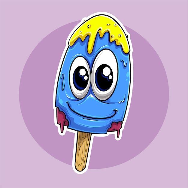 Иллюстрация голубой стикер мороженого с большой улыбкой