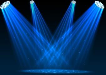 Illustration of Blue spotlights on dark background