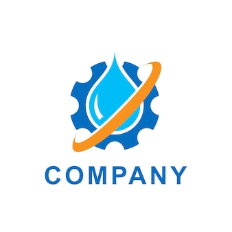 기어 톱니와 푸른 물 방울의 그림입니다. 벡터 로고 디자인 서식 파일입니다. 생태 테마, 그린 에코 에너지, 기술 및 산업에 대 한 추상적 인 개념. 프리미엄 벡터