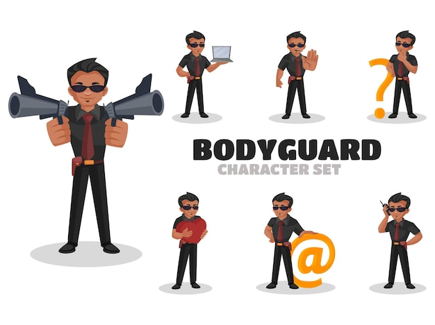 Иллюстрация набора символов телохранитель