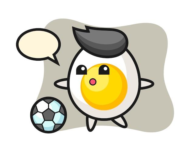 Иллюстрация вареного яйца мультфильм играет в футбол