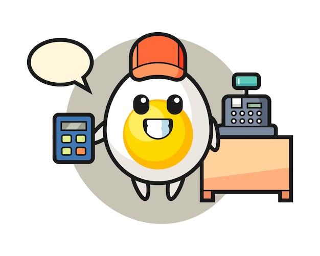 출납원으로 삶은 계란 캐릭터의 일러스트