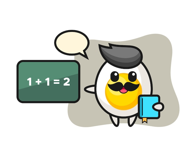 ゆで卵のキャラクターの先生としてのイラスト