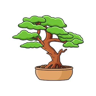 鉢植えの盆栽のイラスト。プレミアムベクトルに分離された漫画のベクトル図