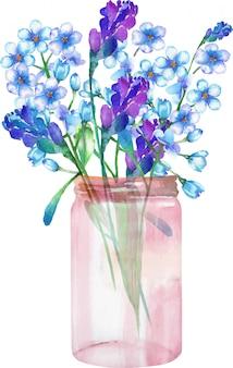 ガラスの瓶に野生の花の花束のイラスト