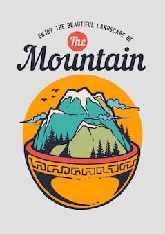 그것의 위에 산과 자연 풍경과 그릇의 그림.