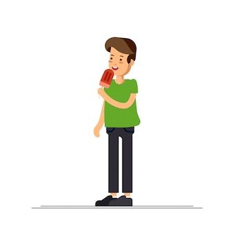 Иллюстрация мальчика чувствуя счастливым и ест сладкое мороженое. время детства.