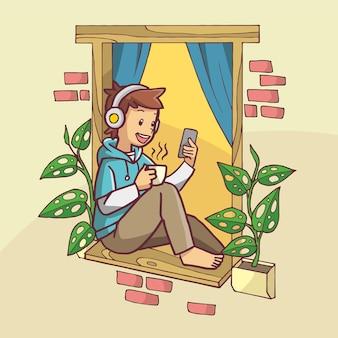 커피를 마시는 동안 헤드폰을 사용하여 창에서 휴식을 취하는 소년의 그림. 손으로 그린 예술