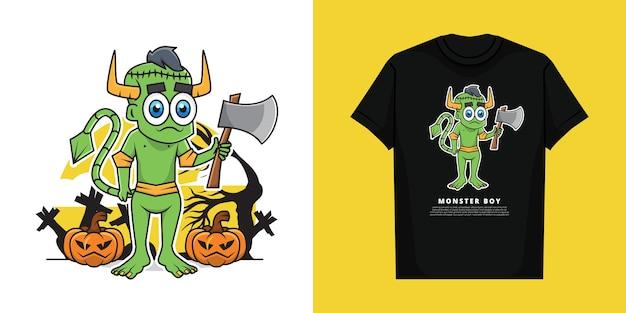 Tシャツデザインのハロウィーンの日にモンスターの衣装を着ている男の子のイラスト