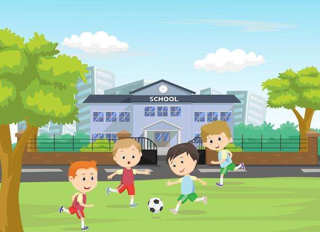Иллюстрация мальчиков ногами футбол на спортивной площадке
