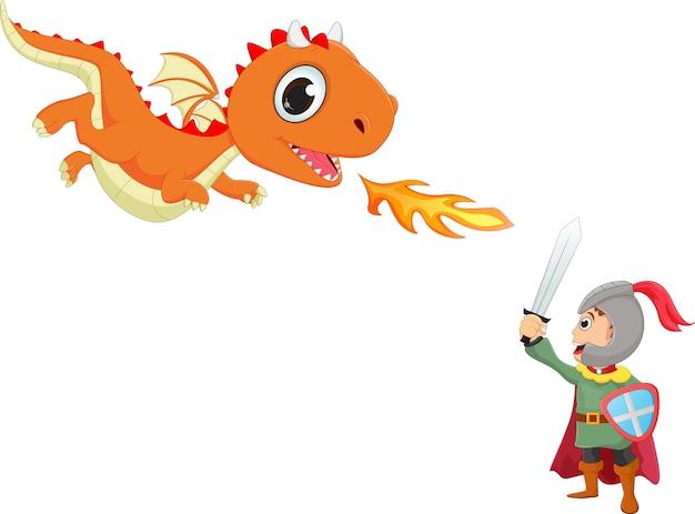 Иллюстрация храброго дракона с драконом