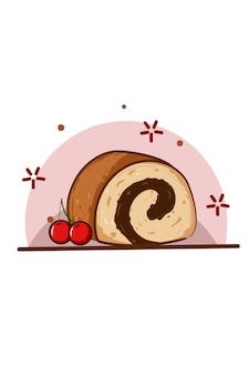 체리와 빵 롤의 그림