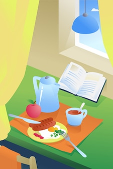 Иллюстрация завтрака в интерьере. кофе, яичница с сосисками и зеленым горошком.