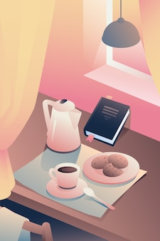 インテリアでの朝食、朝の生活のイラスト。