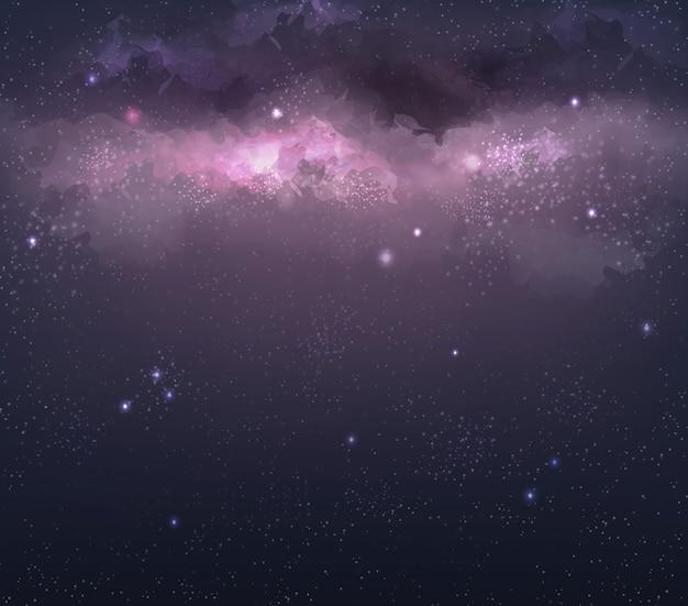 공간에서 밝고 화려한 성운과 은하의 그림