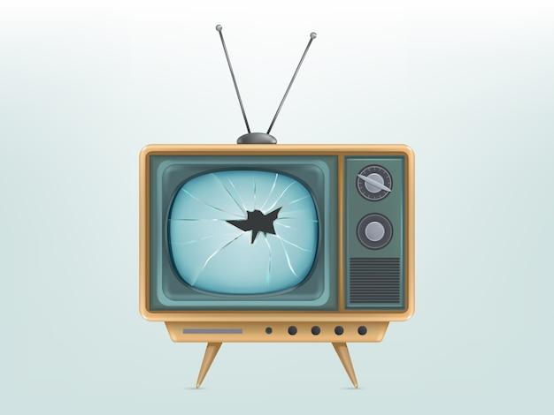 깨진 된 복고풍 tv 세트, 텔레비전의 그림입니다. 빈티지 전자 비디오 디스플레이 부상