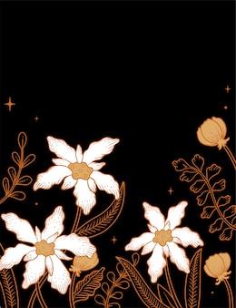 茶色のバティックの花のイラスト