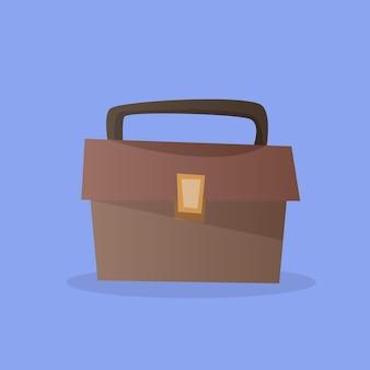 金色のロックが付いている茶色の革製ブリーフケースのイラスト