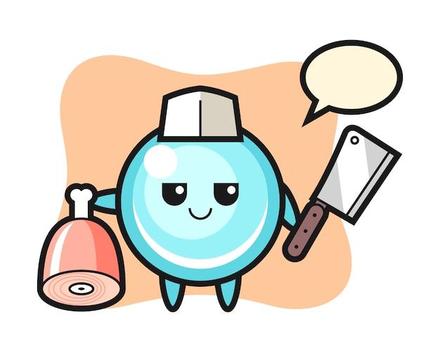 Иллюстрация пузырь персонажа, как мясник, милый дизайн стиля