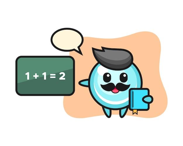 Иллюстрация пузырь персонажа как учителя, милый дизайн стиля