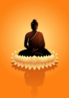 水蓮の花で瞑想する仏のイラスト