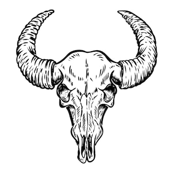 白い背景の上のバッファローの頭蓋骨のイラスト。ポスター、エンブレム、看板、tシャツの要素。図