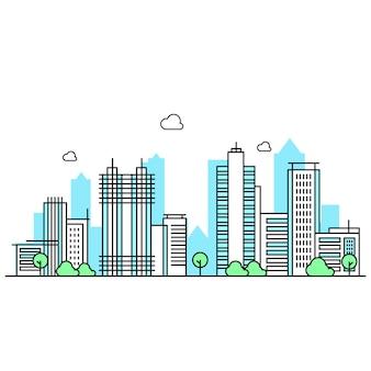 건물의 다양한 모양과 선 스타일의 건물의 그림입니다. 나무가 아름다운 도시 전망.
