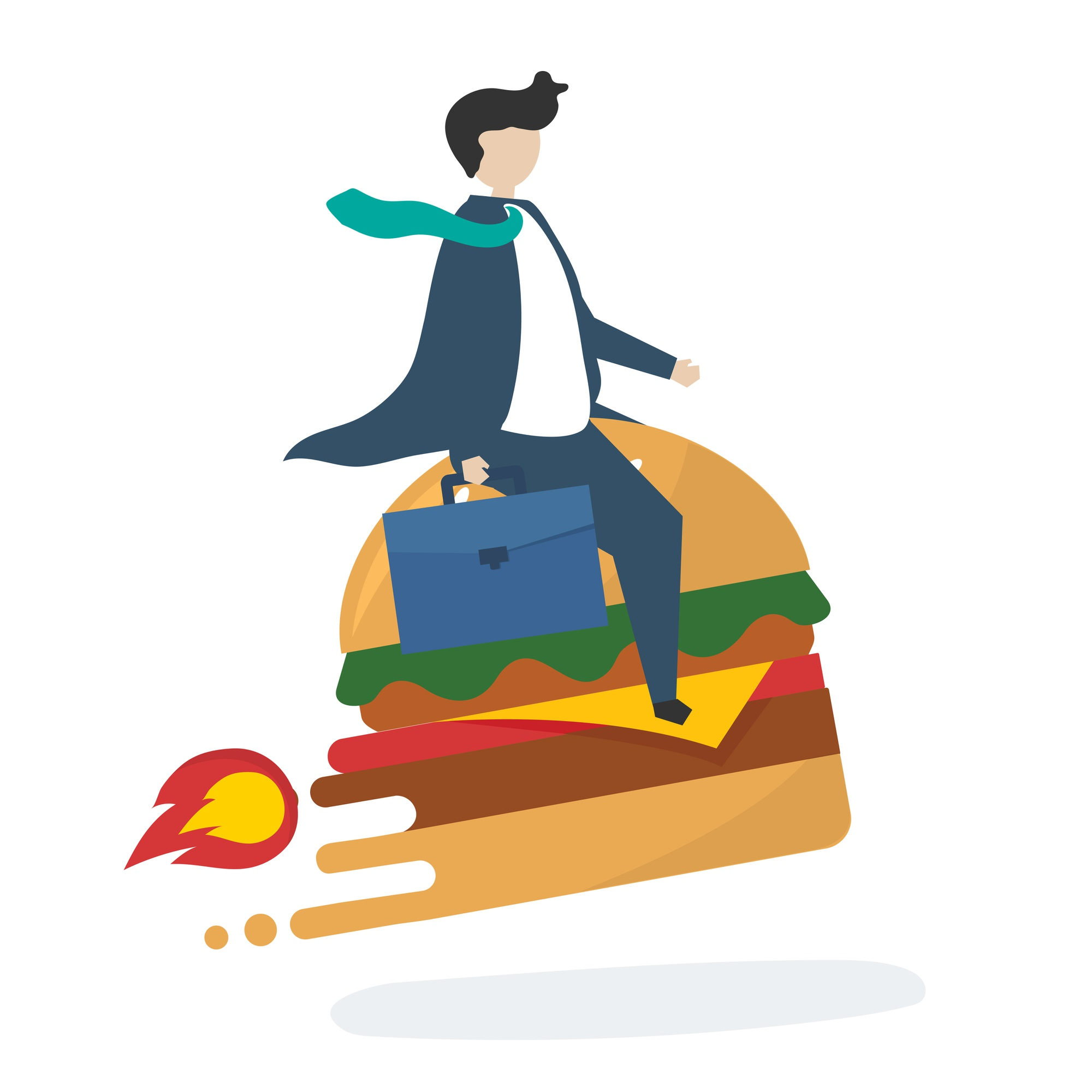 Illustration of business character with fast food