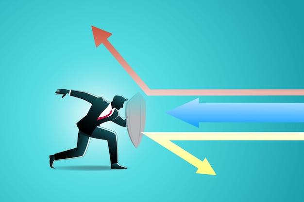 비즈니스 개념의 그림, 사업가 사용 방패 패리 다채로운 화살표 공격