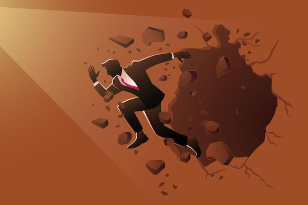 Иллюстрация бизнес-концепции, бизнесмен прорывается через стену