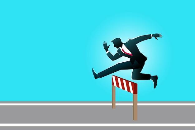 비즈니스 개념의 그림입니다. 장애물을 통해 점프하는 사업