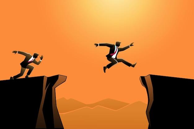Иллюстрация бизнес-концепции, бизнесмен прыгает через ущелье