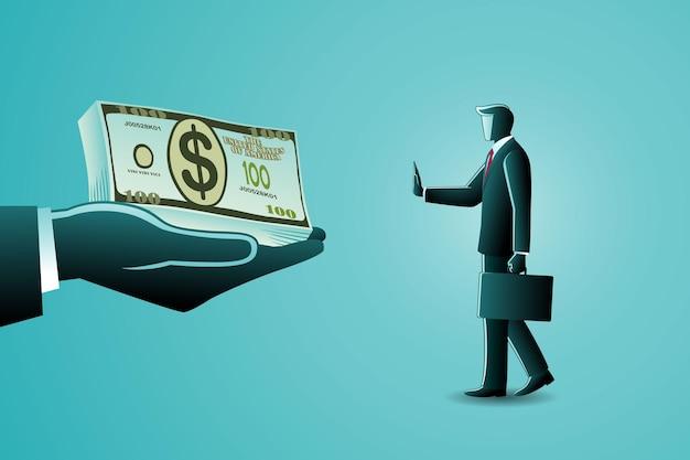 Иллюстрация бизнес-концепции, бизнесмен отказывается от денег
