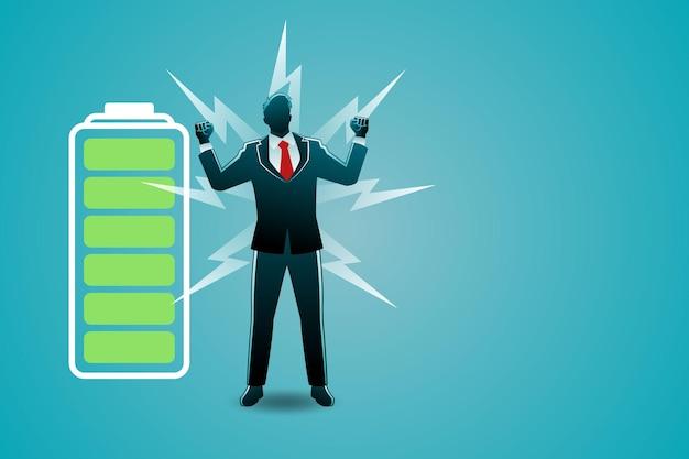 Иллюстрация бизнес-концепции, рост бизнесмена с мощным индикатором заряда батареи Premium векторы