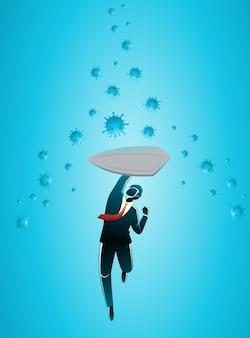Иллюстрация бизнес-концепции, бизнесмен с щитом, защищенным от вирусной атаки Premium векторы