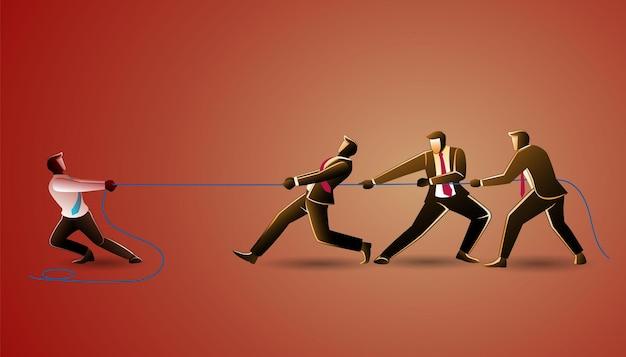 비즈니스 개념의 그림, 줄다리기에서 기업인 팀워크