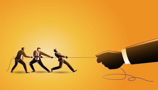 Иллюстрация бизнес-концепции, группа бизнесменов, натягивающих веревку гигантской рукой