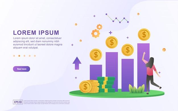 事業開発と上昇のグラフとお金のアイコンで利益を上げるのイラスト。