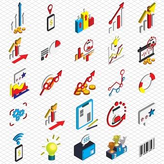 Isometricグラフィックスでビジネスアイコンの概念を設定します。