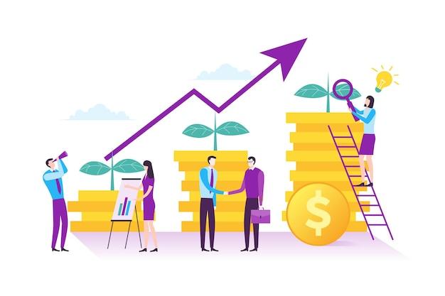 현대 평면 디자인의 사업 투자 및 재무 관리 개념의 삽화
