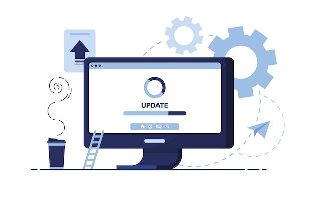 ビジネスマーケティングのイラスト。自宅、オフィスの職場。コンピュータ、pc。更新、ダウンロード、改善。画面ページ。設定、ソフトウェア。青い