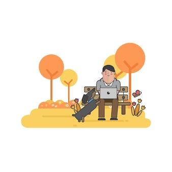 Illustration of businessman and a dog