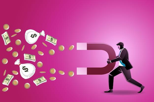 Иллюстрация бизнесмена, держащего большой магнит, тянуть деньги