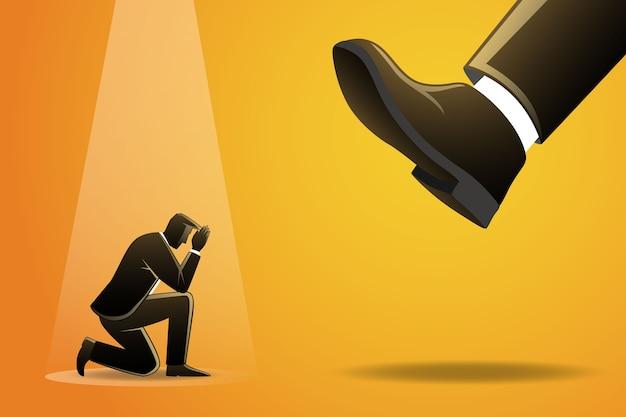 ビジネスマンのイラストは大きな足の下にひざまずく