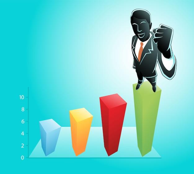 彼の拳を握りしめながらグラフチャートに立っているビジネスマンのイラスト