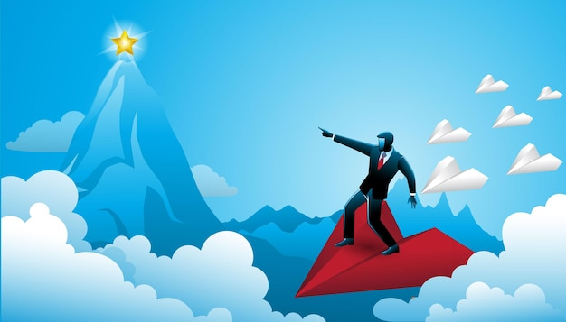 Иллюстрация бизнесмена, стоящего на красном бумажном самолетике, указывающего на золотую звезду на пике горы с небольшой группой бумажных самолетиков