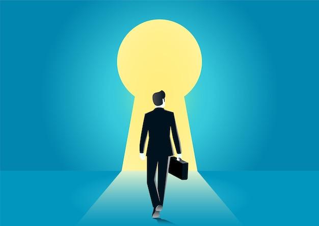 열쇠 구멍에 들어가는 사업가의 그림