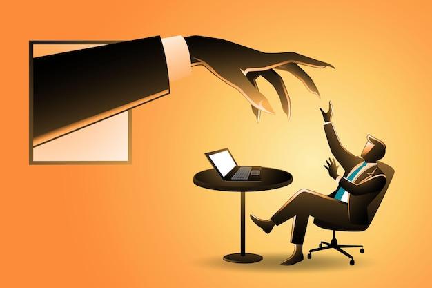 窓から現れる巨大な手で恐れている、デスクでノートパソコンを扱うビジネスマンのイラスト